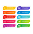 colorful menu steps app interface number options vector image vector image