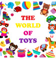 colorful toys in cartoon style for kids banner vector image vector image