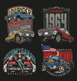 custom cars vintage colorful prints vector image vector image
