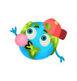 cute cartoon funny earth planet emoji wearing red vector image