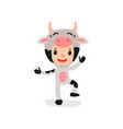cute kid character dressed as cow with horns vector image vector image
