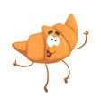 cute smiling croissant character cartoon funny vector image vector image
