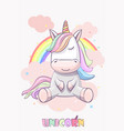 cute unicorn with on a rainbow vector image vector image