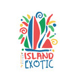 exotic summer vacation colorful logo vector image vector image