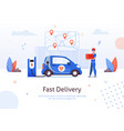 fast delivery man pizza box electric car charging vector image