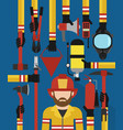fire fightingman modern design concept flat set vector image