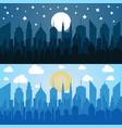 flat blue cityscapes horizontal banners vector image