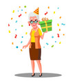 funny old woman celebrate birthday in party caps vector image