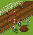 gardening isometric composition vector image vector image