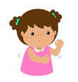 girl scratching itching rash on his body vector image vector image