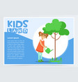 girl watering a tree with a watering can eco vector image vector image