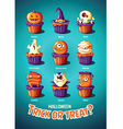 Halloween vintage poster Trick or treat Cakes with vector image vector image