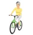 Happy senior woman riding bicycle vector image vector image