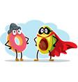 hero super food avocado and villain doughnut vector image vector image