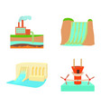 hydropower icon set cartoon style vector image