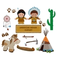 Indian symbols set cartoon characters of American vector image vector image