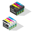 Ink jet cartridges isometric icon vector image