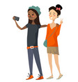isolated cute diverse girls taking a selfie vector image