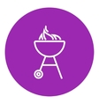 Kettle barbecue grill line icon vector image
