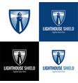 lighthouse shield icon and logo vector image