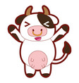 line color cute and cheerful cow wild animal vector image vector image