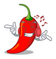 listening music hot chili pepper on cartoon table vector image vector image