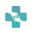 medicine cross and hands icon vector image vector image
