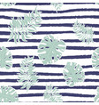 monstera leaf seamless pattern on blue strips vector image