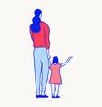 mother child walking together drawn sketch vector image vector image