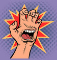 mouth emotion anger hand scratch gesture vector image vector image