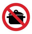 no cooking pan sign vector image vector image