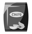 Packing with chips icon gray monochrome style vector image vector image
