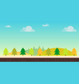 seamless cartoon nature landscape hills trees vector image vector image