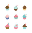 set cute cupcakes and muffins delicious vector image