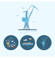 Set icons with crane containership vector image vector image