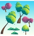 set isolated cartoon abstract trees vector image vector image