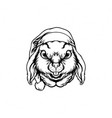 silhouette rabbit christmas clipart vector image
