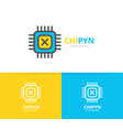 simple computer micro chip and processor logo vector image vector image