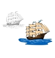 Sketch of old sailing ship at sea waves vector image vector image