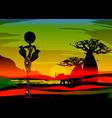 sunset landscape forest baobab trees savannah vector image vector image