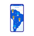 travel tracker app smartphone interface template vector image vector image