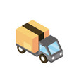 truck cardboard box online shopping isometric icon vector image