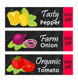 vegetables sale - organic vegetarian nutrition vector image vector image