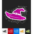 witch hat paper sticker with hand drawn elements vector image vector image
