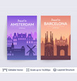 amsterdam and barcelona famous city scapes vector image vector image