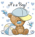 baby shower greeting card with cute teddy bear boy vector image vector image