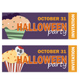 background with halloween cupcake - invitation to vector image