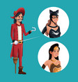 blue poster with pirate man costume and icons vector image vector image