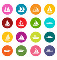 boat and ship icons many colors set vector image vector image