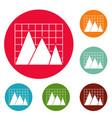 business chart icons circle set vector image vector image